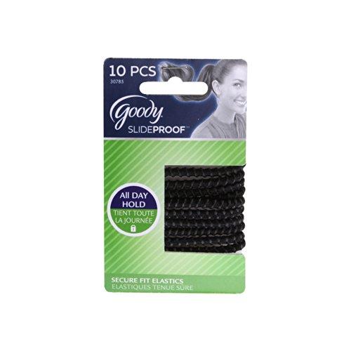 Goody Slide Proof Stayput Black Hair Elastics, 4 mm, 10 Count