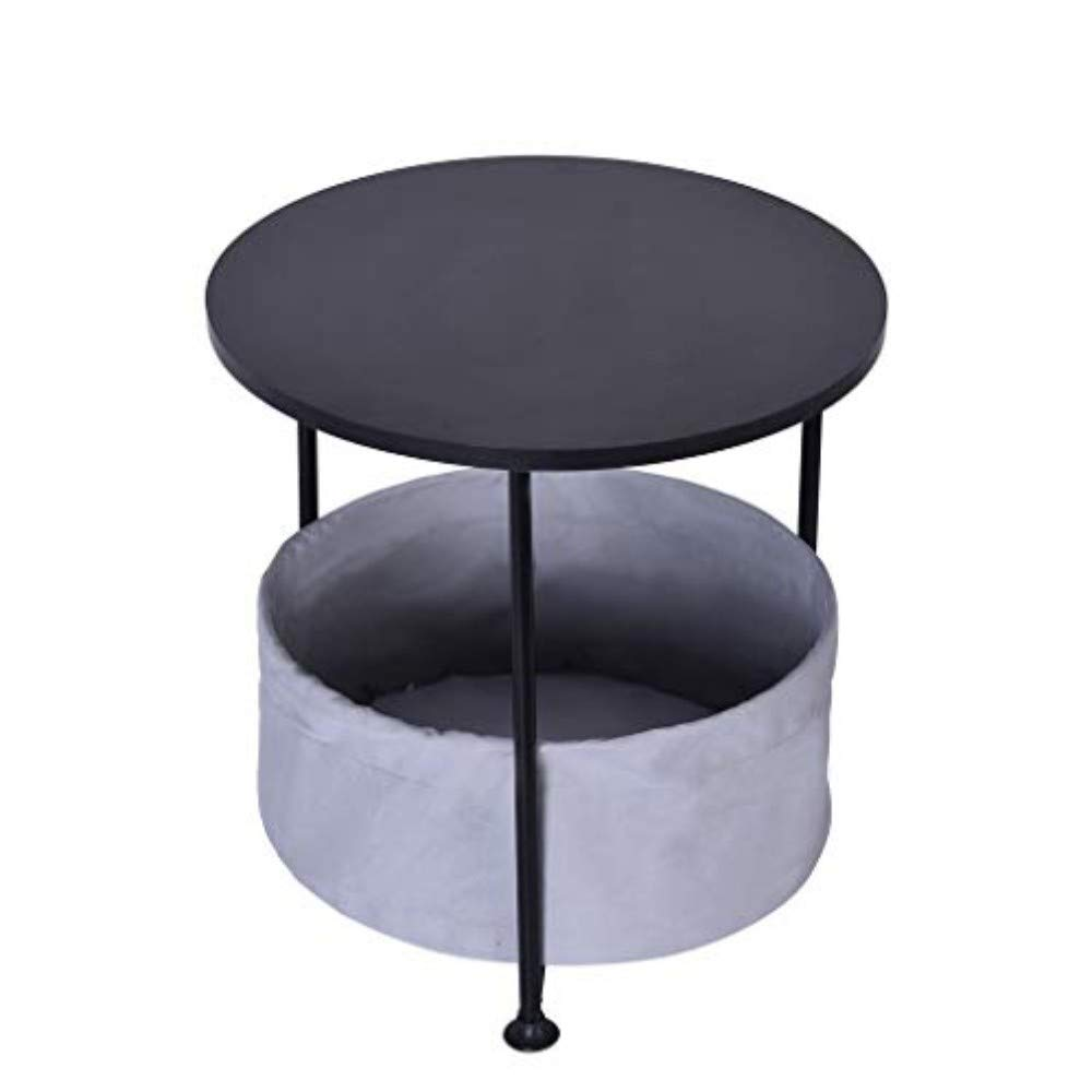 Exteren Round Wood Side Table with Fabric Storage Black Double/Three Layer | Shipping from USA (Small)