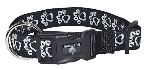 Hamilton 1-Inchx18-26-Inch Adjustable Dog Collar with Chalk Paws Patterned Ribbon Overlay, Large