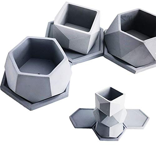 Concrete Planter Best Quality - Clay Molds - Big Cement Mold Handamde Silicone Flowerpot molds for Home Gardening Succulent Plants Diamond Shape Clay Pot Mould - by GTIN - 1 PCs