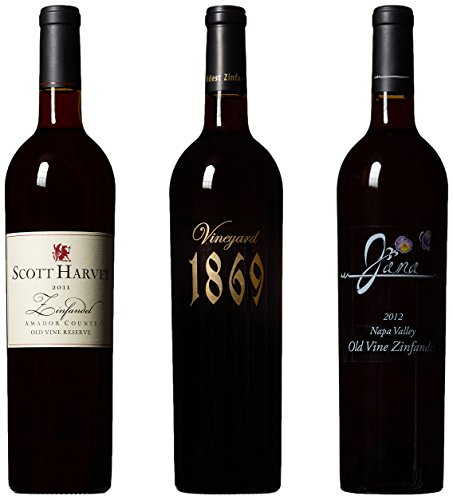 Scott Harvey Wines Amador & Napa Old Vine Zinfandel Trio Wine Gift Pack, 3 x 750 mL