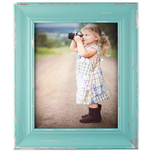 DII, Rustic Farmhouse, Distressed Wooden Picture Frame, 8x10, Blue