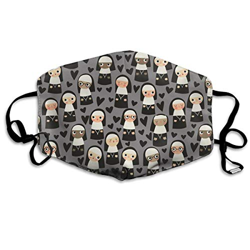 KUYTZDCUTE Nuns On Gray Heart Mouth Mask Dust Face Mask Washed Reusable Outdoor Activities Windproof 7 X 4.3 Inch. ()