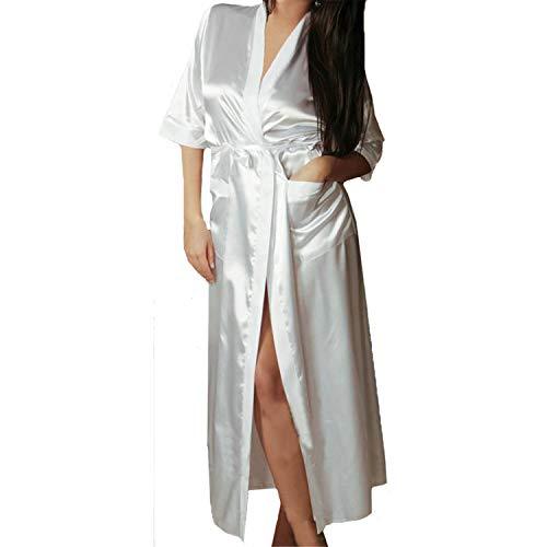 T T Store Long Dressing Sexy Bath Kimono Robe Sleepwear Bridesmaid Vintage Lingerie Night Robes Bathrobe Satin Robe Peignoir(White,M) (Peignoir Vintage)