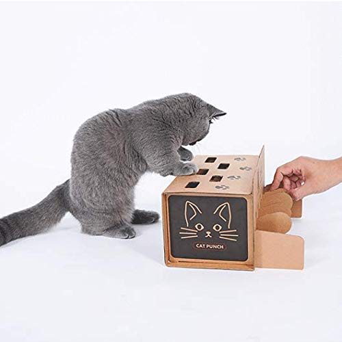 (DUANQY New Interactive Cat Toy Box Peek a Prize Cat Toy Box 5 Holes - Hide & Seek Treat Maze & Puzzle Feeder for Cats,Brown)