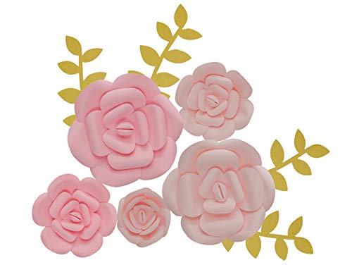 KEIRA PRINCE CRAFTS Paper Flowers Decorations Large, Med, Sml Wedding Flowers Centerpieces, Birthday Backdrop, Nursery Wall Decor, Photobooth (NO DIY) (Pink)