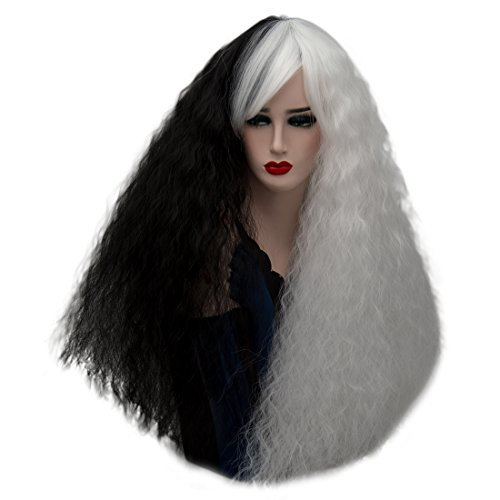 Alacos Black and White Ombre Gothic Wigs Collection + Free Wig Cap (75CM Fluffy -