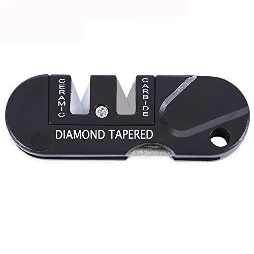 JPJ(TM) ❤️Knife Sharpener❤️1pcs Fashion Outdoor Pocket Folding Knifes Sharpener Ceramic Carbide Diamond Tapered Tools (Black) -