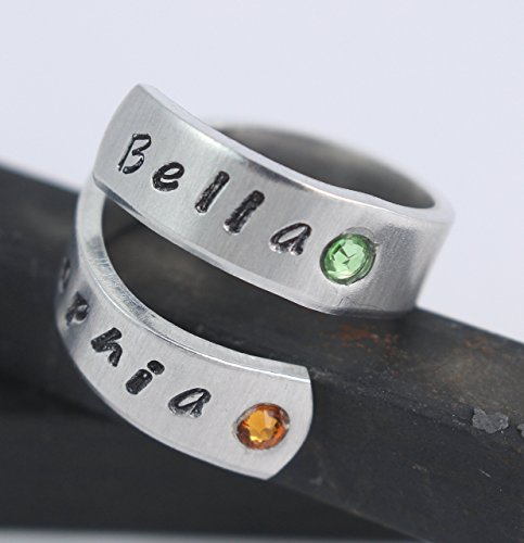 - Personalized Birthstone Adjustable Wrap Ring - Twist Ring - Hand Stamped Gift for Mother