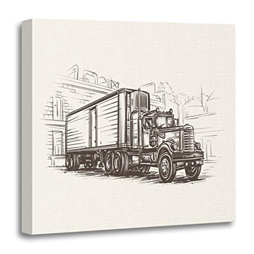 (Semtomn Canvas Wall Art Print Vintage American Old Retro Truck Cargo Classic Lorry Transport Artwork for Home Decor 12 x 12 Inches)
