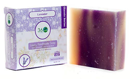 Handmade Soap Lavender, X-LARGE 5oz Handmade Soap bar- Lavender floral fragrance - Normal to dry skin, Natural Soap - Organic Castile lye Soap, Made in USA- 360Feel - Lavender Handmade Soap