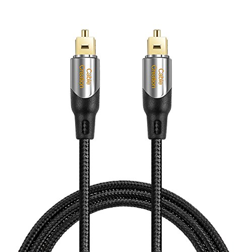 Digital Optical Audio Cable,CableCreation 15FT Toslink Male SPDIF Cable with Nylon Braided Fiber Optic Cord for Home Theater, Sound Bar, TV, PS4, Xbox, VD/CD & More.Black & Sliver