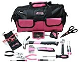 Ladies Pink Tool Set With Bonus Safety Glasses. 42 Piece is the Perfect Tools Kit For Any Household Project. Women Claim Your Own Toolkit for any homeowners improvement. Comes in a Great Pink toolbag.