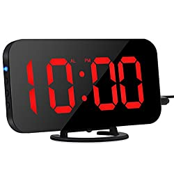Digital Alarm Clock, Dual Alarm Clock with Large 6.5 Display Mirror Surface & Brightness Dimmer LED Alarm Clock with USB Ports Loud Alarm, Snooze, Light Sensor (Black)