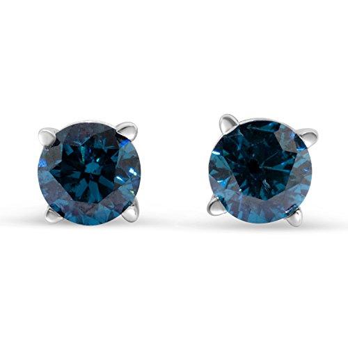 1/4cttw Blue Diamond Round Stud Earrings 14k in White ()