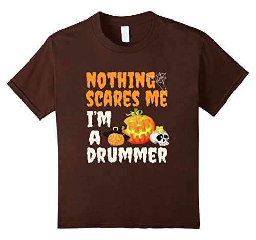 12 Drummers Drumming Costume (Kids Nothing Scares Me I'm A Drummer - Funny Halloween T-shirt 12 Brown)