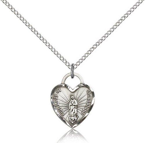 Icecarats Créatrice De Bijoux En Argent Sterling O / L De Guadalupe Pendentif Coeur 5/8 X 1/2 Pouces