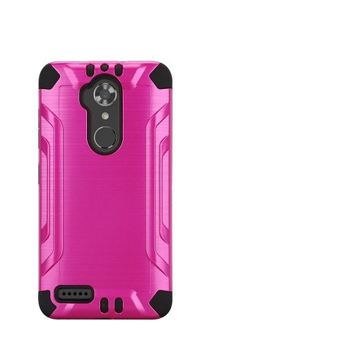 Phone Case for Straight Talk ZTE Max Blue 4G LTE Prepaid Smartphone / Walmart Family Mobile ZTE Max Blue 4G LTE Prepaid Smartphone, ZTE Blade Max 3 Case, Metallic Brush Finish Cover Case (Pink)