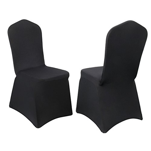 CUSFULL 10 Pcs Polyester Spandex Banquet Wedding Party Chair Covers Universal (Black) ()