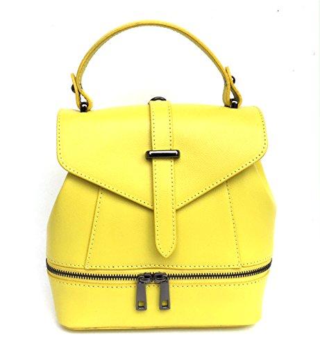 SUPERFLYBAGS Borsa Donna a mano / Zaino vera pelle modello Ligia Made In Italy giallo limone