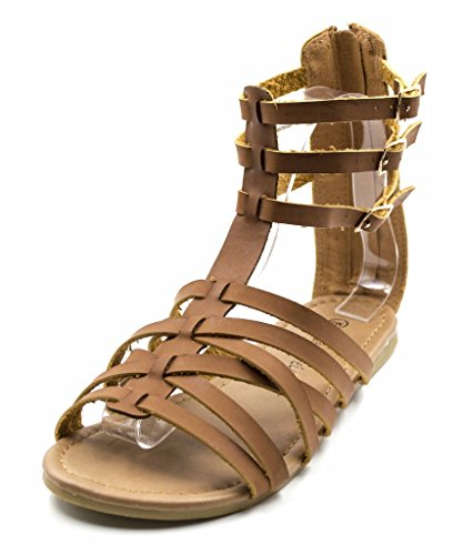 Charles Albert Free Reign Womens Back Zip Buckle Gladiator Strappy Vegan Leather Sandal (Wide Width) Cognac 3nsIFnjU