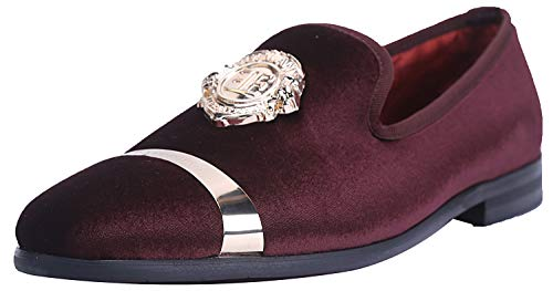 ELANROMAN Men Dress Velvet Loafers Shoes with Gold Plate Slippers Wine Fashion Parties Shoes US 11 EUR 45 Feet Lenght 300mm (Best Formal Mens Wear)