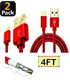 Pelotek; Micro USB Cable [2-Pack] 4FT Unbreakable Military Grade Ultra-Fast Charging Cable  Android Charging Cable  for Samsung, Kindle, Android & Windows Smartphones Xbox PS4 Camera & More (Red