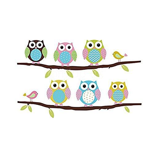 cute cartoon six colorful owls