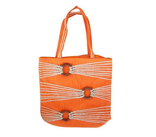 Borsa shopping bag 36x37x12cm mod. Sadira ARANCIONE con dettagli in legno e corda. MWS