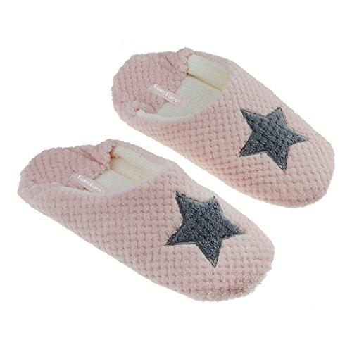 Femmes Intérieur Slip-on Doux Coton Chaud Polaire Anti-dérapant Imperméable À Leau Unique Pantoufles Confortable Maison Chaussures Chaussures Rose Étoile