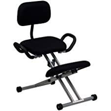 Offex WL-3439-GG Ergonomic Kneeling Chair with Back and Handles, Black Fabric