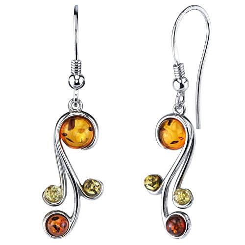Sterling Silver Baltic Amber Multi Color Spiral Drop Dangle Earrings Honey Cognac yellow and Olive Colors ()