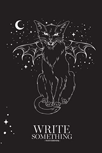 Halloween Monster Smile (Notebook - Write something: Creepy black cat with monster wings over night sky with moon and stars notebook, Daily Journal, Composition Book Journal, College Ruled Paper, 6 x 9 inches)