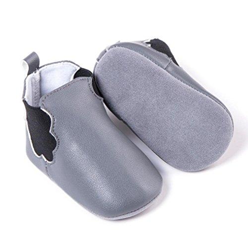 HUHU833 Kinder Mode Junge Mädchen Schuhe Babyschuhe Anti-Rutsch Soft Sole Leder Kleinkind Schuhe Säuglingsschuhe (0~12M) Grau