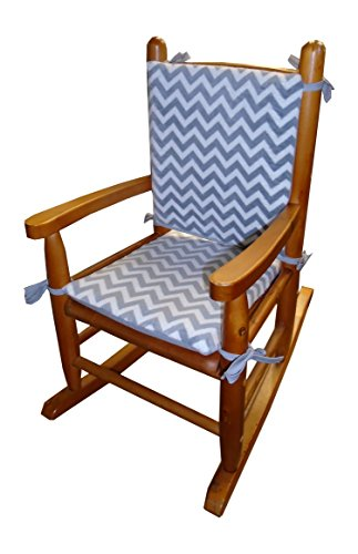 (Baby Doll Bedding Minky Chevron Junior Rocking Chair Pad, Grey)