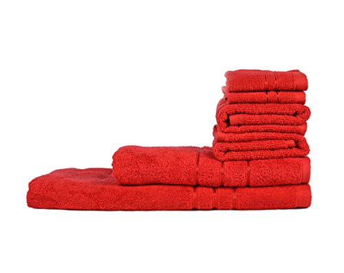 Towel Town Set of 6 Ecospun Towels ( 2FT + 2HT + 2BT ) Red