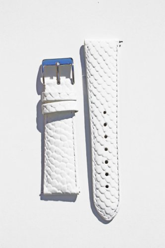 Michele Style 16mm White Snakeskin Leather with Quick-Release Pins
