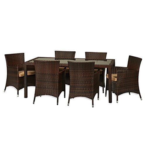 THY-HOM Rica 7 Piece Wicker Patio Dining Set (Dining Set Furniture Hom)