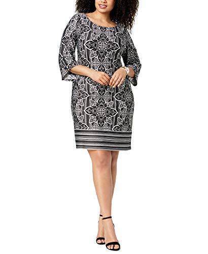 NY Collection Plus & Petite Plus Size Printed Boat-Neck Shift Dress (Jet Mantraline, 1X)