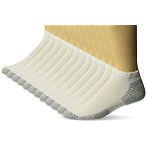 Fruit of the Loom Men's 12 Pair Cushioned No Show Sock Sockshosiery, -white, Shoe size 6-12