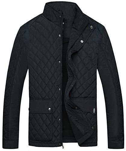 Wantdo Men's Quilted Puffer Jacket Warm Windproof Stand Collar Diamond Coat Black X-Large Collar Quilted Coat