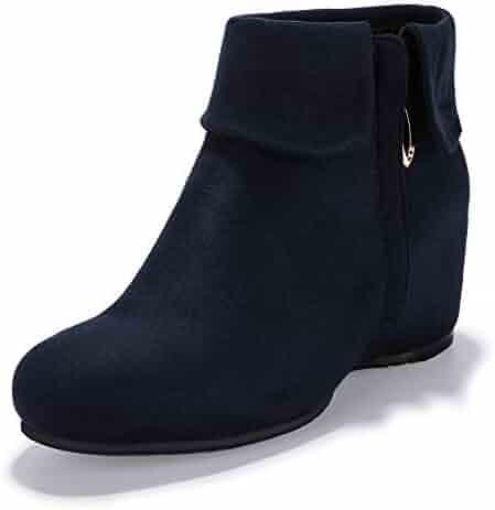 2a310a85c459 IDIFU Women s Candice-V Fold Over Round Toe Ankle Booties Hidden Medium  Wedge Heel Side