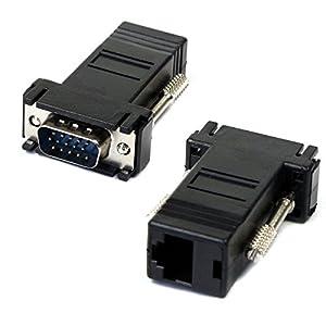 Aobiny VGA Extender Male To Lan Cat5 Cat5e RJ45 Ethernet Female Adapter