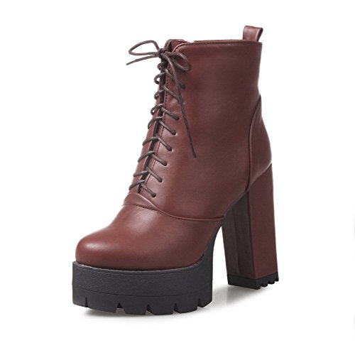 AalarDom Women's Solid PU High-Heels Zipper Closed Round Toe Boots, Brown, 35 (Coupons For Party City 2016)