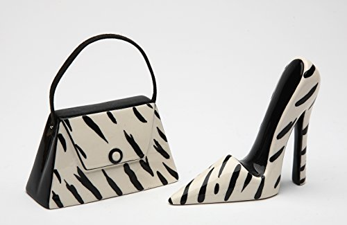 Cosmos Gifts 62807 Fine Ceramic Black and White Zebra Prints Silhouette High Heel Shoe and Purse Salt and Pepper Shakers, 3-1/2