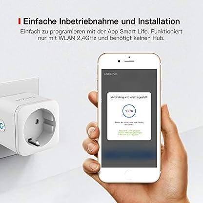 TECKIN Smart Wlan Steckdose 16A Wifi Intelligente Mini Steckdose, funktioniert mit Android und iOS Siri und Google Home, Alexa, Google Nest Hub, auf NUR 2.4 GHz Netzwerk (4 PACK) 7