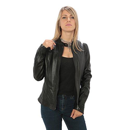 """Mujer Chaqueta de cuero auténtico """"estilo ciclistas"""" Made in Italy Negro"""