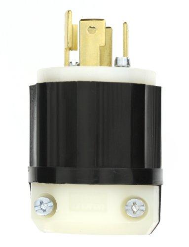 Leviton 2751 30 Amp, 120/208 Volt 3PY, NEMA L18-30P, 4P, 4W, Locking Plug, Industrial Grade, Non-Grounding - Black-White