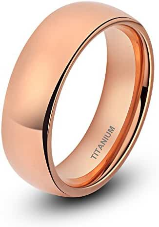 Titanium Ring for Men Women Rose Gold Plated Classic Wedding Band 6mm Wide