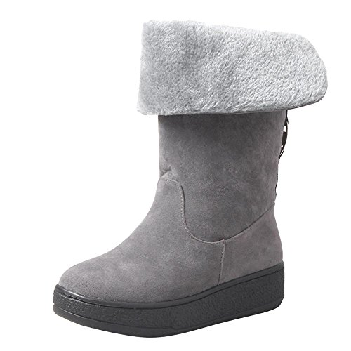 Carolbar Women's Casual Concise Platform Flat Warm Short Snow Boots Grey 9TyUE553O